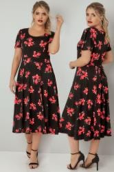 Black Floral Print Skater Dress With Self Tie Waist