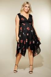 Black Floral Print Wrap Dress With Hanky Hem