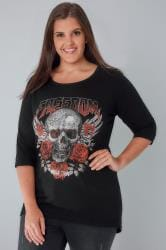 "Black ""Freedom"" Skull Print T-Shirt With 3/4 Length Sleeves"