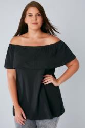 Black Frill Bardot Jersey Top