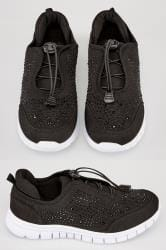 Black Embellished Trainers In TRUE EEE Fit