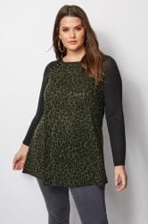 Black & Green Leopard Print Swing Top