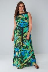 Black & Green Sleeveless Brush Stroke Print Maxi Dress