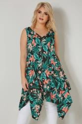 Black & Green Tropical Floral Print Sleeveless Top With Cross Over Back & Hanky Hem