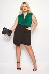 Black & Green Wrap Bodycon Dress
