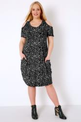 Black & Grey Animal Print Cold Shoulder Dress With Drape Pockets