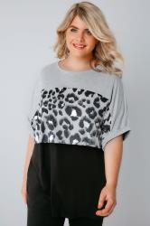 Black & Grey Colour Block Top With Foil Animal Print Detail