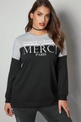 Black & Grey Colourblock Slogan Print Sweater