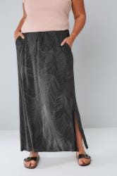 Black & Grey Leaf Print Pull On Maxi Skirt With Side Splits