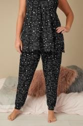 Black Heart Print Cuffed Pyjama Bottoms
