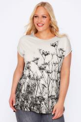 Black & Ivory Floral Top With Slits To Sides