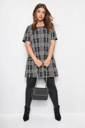 Black Jacquard Check Tunic Dress