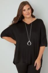 Black Jersey Top With Free Necklace