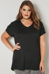 Black Jersey Top With Lace Eyelet Details