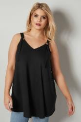 Black Jersey Vest Top With D Ring Fastenings