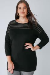 Black Jumper With Sheer Striped Yoke