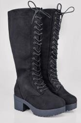Black Knee High Lace Up Heeled Wide Calf Boot In EEE Fit