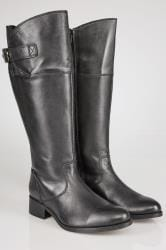 Black Leather Knee High Riding Boots With Elasticated Panels In EEE Fit