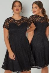 Black Lace Knee Length Skater Dress