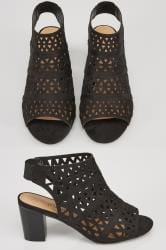Black Laser Cut Sandals With Block Heel In TRUE EEE Fit