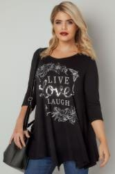 Black 'Live Love Laugh' Slogan Print Longline Top