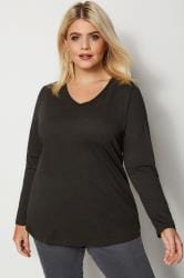 Black Long Sleeved V-Neck Jersey Top