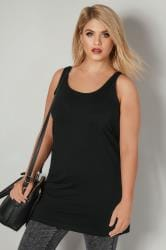 Black Longline Vest Top Plus Size 16 To 36
