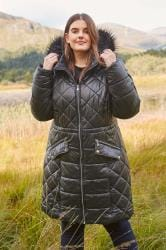 Black Longline Wet Look Puffer Coat