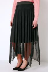 Black Mesh Midi Skirt With Hanky Hem