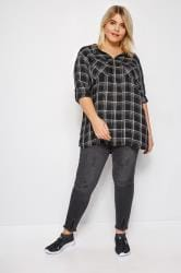 Black & Metallic Zip Through Check Shirt