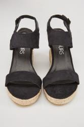 Black Espadrille Wedge Sandals In EEE Fit