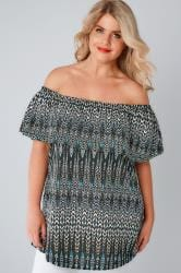 Black & Multi Aztec Print Bardot Top