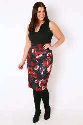 Black & Multi Bodycon Dress With Floral Print Skirt