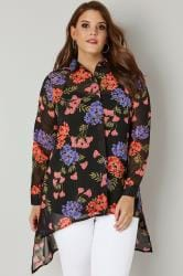 Black & Multi Floral Dipped Hem Shirt