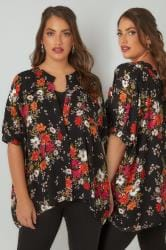 YOURS LONDON Black & Multi Floral Print Chiffon Boxy Fit Blouse