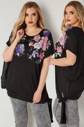 Black & Multi Floral Print Embellished Top With Tie Side