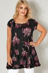 Black & Multi Floral Print Gypsy Top With Frill Hem