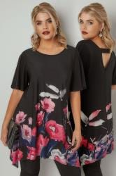 Black & Multi Floral Print Jersey Top With Hanky Hem