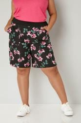 Black & Multi Floral Print Linen Shorts