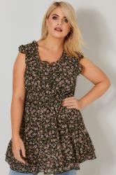 Black & Multi Floral Print Longline Top With Frilled Trims