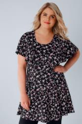 Black & Multi Floral Print Peplum Top With Frill Angel Sleeves