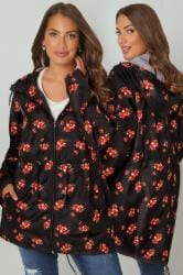 Black & Multi Floral Print Pocket Parka With Hood