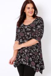 Black & Multi Floral Print Top With 3/4 Sleeves & Hanky Hem