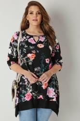 Black & Multi Floral Swing Top With Hanky Hem