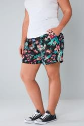 Black & Multi Tropical Print Shorts With Pockets