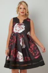 Black & Multi Rose Print Skater Dress With Notch Neck & Mesh Panel