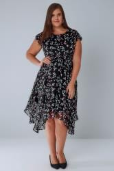 Black & Multi Spot Print Floaty Midi Dress With Hanky Hem