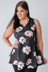 Black & Multi Watercolour Floral Print Scuba Swing Top