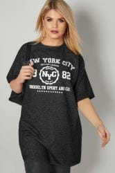 Black 'NYC' Print Longline Sweat Top