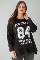 Black NYC Varsity Slogan Sweatshirt With Pearl Embellishment